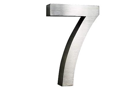 número de casa Acero Inoxidable nº 7 H25 cm X t3 cm Arial en ...