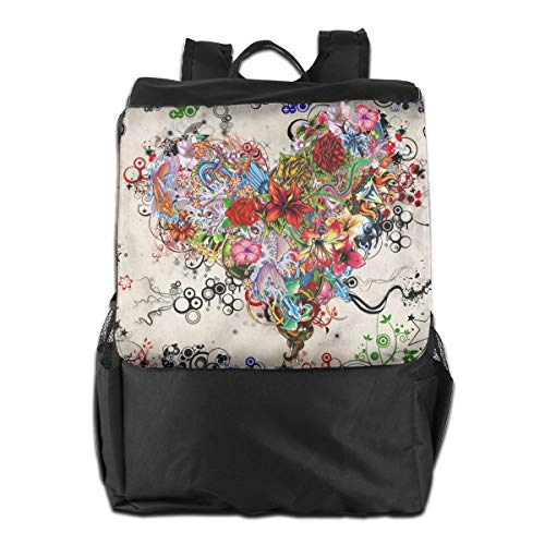 Contemporary Vintage Abstract Art Love Heart Women Men Laptop Travel Backpack College School Bookbag Black