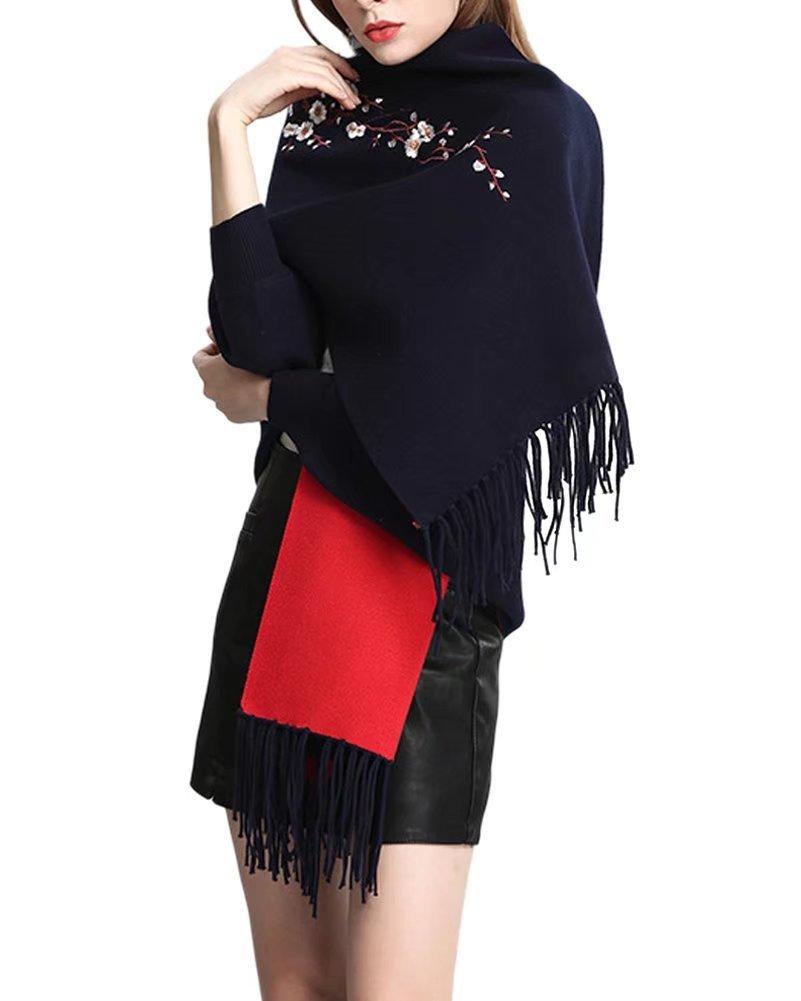 Women's Plum Blossom Extra Large Cashmere Wrap Scarf Navy Blue
