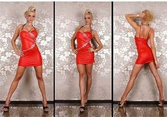 Women Fashion Red Sleeveless Low Cut Dew Back Rhinestones Cocktail Dress - Free Size