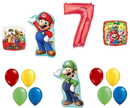 #7 7th Birthday Super Mario Brothers Mega 13 Piece Foil Mylar and Latex Balloons Party Decoration Set -
