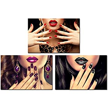 Nachic Wall - 3 Piece Woman Canvas Wall Art Beauty Fashion Nail Wall Decor for Nail Salon Bathroom Bedroom Decoration Makeup and Manicure Pictures Poster Framed Ready to Hang