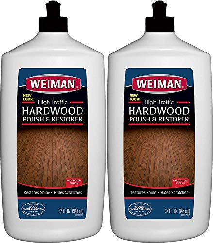 Weiman Wood Floor Polish and Restorer – 32 Ounce – High-Traffic Hardwood Floor, Natural Shine, Removes Scratches, Leaves Protective Layer Pack of 2