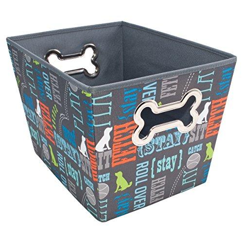 Paw Prints Fabric Pet Toy Bin, Wordplay Design, 14.75 x 10 x 10.75 Inches (37409)