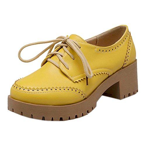Coolcept Zapatos de Tacon Chunky para Mujer Yellow