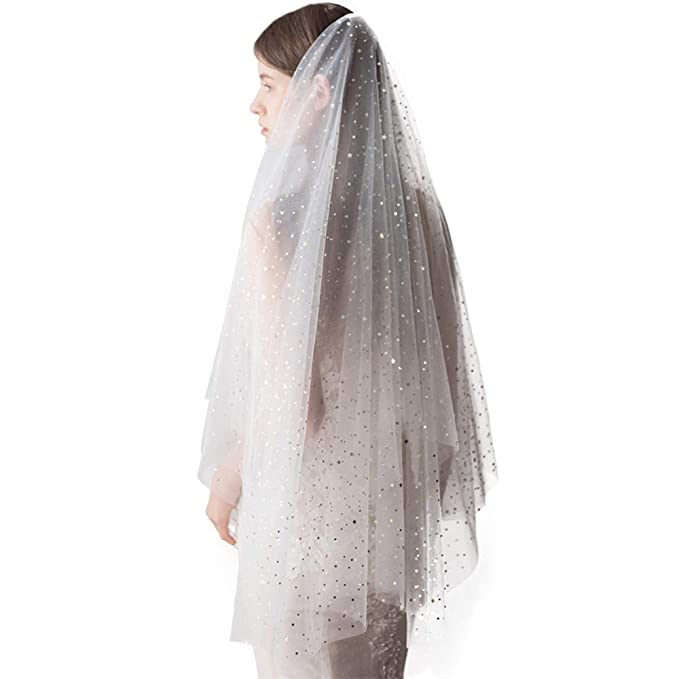 Amazon.com: Velo de novia para boda Bling de 1 piso y 2 ...