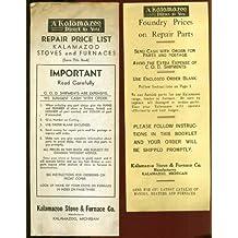 Kalamazoo Stove & Furnace Repair Price List 1930s