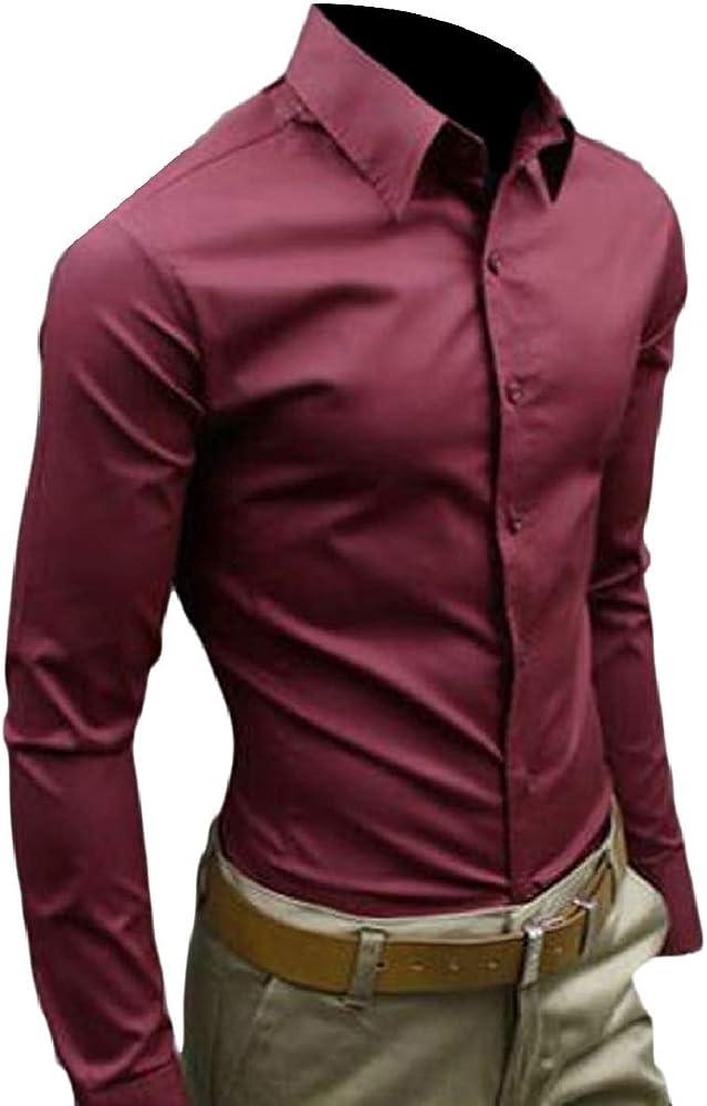 security - Camisa Casual - Manga Larga - para Hombre Rojo Rojo Vino X-Large: Amazon.es: Ropa y accesorios