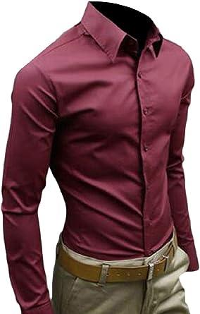 Amazon.es: camisa hombre rojo vino Camisas casual