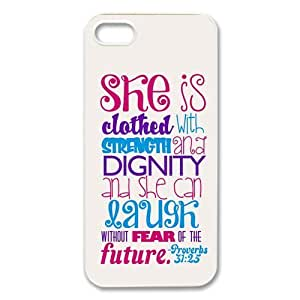 Super diycover iPhone 5S Case - Bible Verse Proverbs 31:25 - Best Durable Cover Case