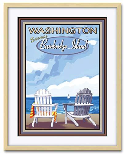 (Bainbridge Island Washington Professionally Framed & Matted Giclee Travel Art Print by Joanne Kollman. Print Size: 18