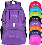 S & P Safe and Perfect Outdoor 35L Sport Waterproof Lightweight Packable Durable Folding Travel Hiking Trekking Camping Cycling Foldable Backpack Ultralight Daypack Collapsible Backpack (Purple)
