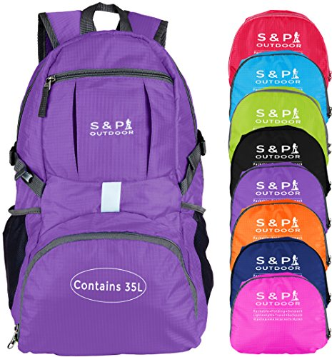 Price comparison product image S & P Safe and Perfect Outdoor 35L Sport waterproof Lightweight Packable Durable folding Travel Hiking Trekking Camping Cycling Foldable backpack Ultralight Daypack collapsible Backpack (Purple)
