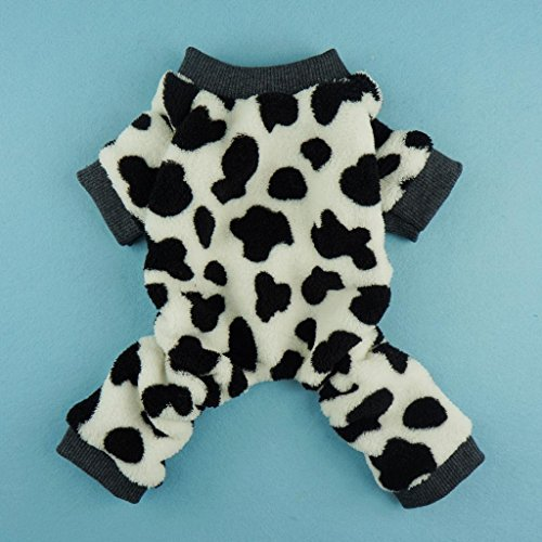 Fitwarm Adorable Milk Cows Pet Dog Clothes Comfy Velvet Winter Pajamas Coat Jumpsuit, Small by Fitwarm (Image #1)