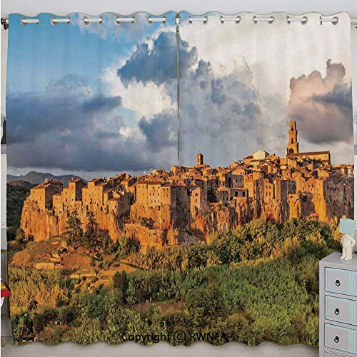 Justin Harve window Old Medieval Town with Stone Houses on The Valley Historical Europe Tuscany Photo Bedroom Living Room Curtain Set of 2 Panels(100