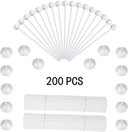 100pcs Premium White Plastic Balloon Sticks with Cups for Wedding Holidays Decor