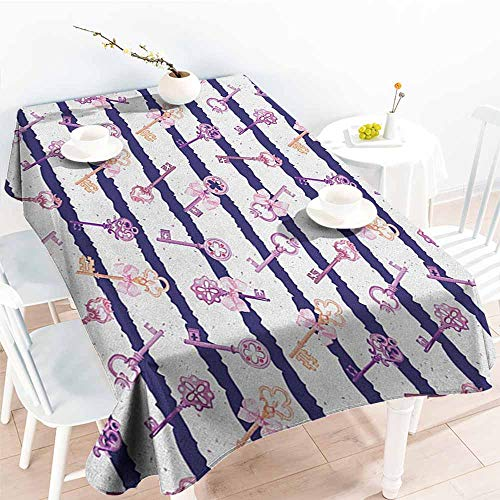 EwaskyOnline Water Resistant Table Cloth,Girls Old Medieval Vintage Keys with Ribbons and Diamonds Striped Pattern in French Style,High-end Durable Creative Home,W52x70L, Purple Blue