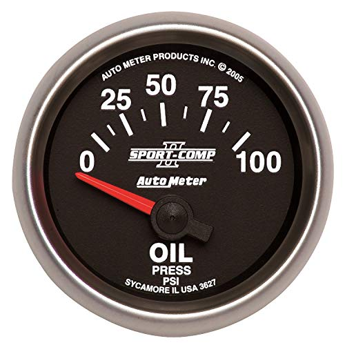 - AutoMeter 3627 Sport-Comp II Electric Oil Pressure Gauge; 2-1/16 in; Black Dial Face; Fluorescent Red Pointer; White LED Lighting; Electric Air-Core; 0-100 PSI;