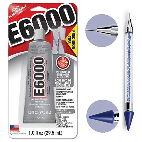 (Bundle - E6000 1.0 Ounce (29.5mL) Tube with Precision Tips Industrial Strength Adhesive for Crafting and Pixiss 6-inch Jewel Picker Setter Pickup Tool - Wax Pencil Rhinestone Applicator Kit)