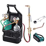 Portable Professional Welding Brazing Cutting Outfit Torch Tool Kit w/Refillable Acetylene Oxygen Tanks Rear Entry Regulators Automotive Repair Air Conditioning US Delivery