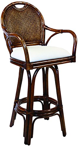 Hospitality Rattan 109-6197-TCA-B Classic Indoor Swivel Rattan & Wicker Bar Stool in TC Antique Finish with Cushion, 30
