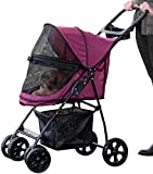Pet Gear No-Zip Happy Trails Lite Pet Stroller for Cats Dogs - Zipperless Entry - Easy Fold with Removable Liner - Storage Basket + Cup Holderr - Boysenberry