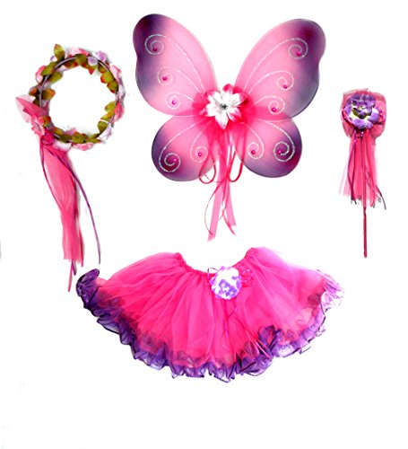 [4 Pc Hot Pink & Purple Fairy Set with Wings, Rosebud Wand and Headband] (Dark Fairy Wings Costume)