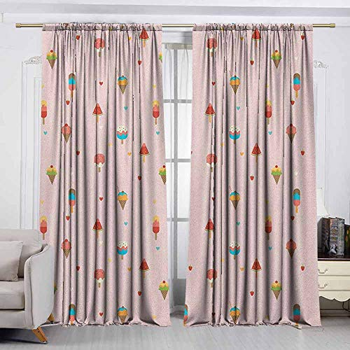 VIVIDX Blackout Window Curtain,Ice Cream,Pastel Pink Striped Backdrop with Hearts Different Toppings on Sticks and Cones,Curtains for Living Room,W63x63L Inches Multicolor]()