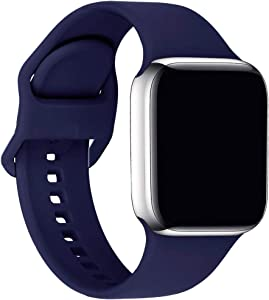 ic6Space Bands Compatible with Apple Watch Series SE/6/5/4/3/2/1, Soft Silicone Sports Replacement Band for iWatch 38mm 42mm 40mm 44mm (Midnight Blue, 42mm/44mm-M/L)