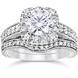 1 3/4ct Cushion Diamond Vintage Halo Engagement Wedding Ring Set 14K White Gold in Size 4-12
