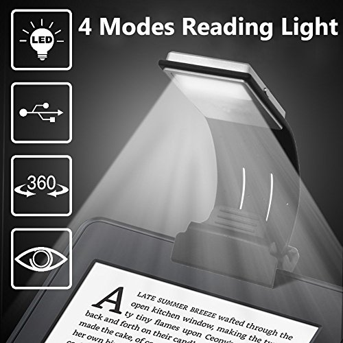 Too Goods Book Light, LED Reading Lamp USB Rechargeable Flexible Night Reading Light 4 Level Brightness 360 °Adjustable Clip on Work/Desk/Bed Lights for Amazon Kindle/eBook Reader/Book/iPad