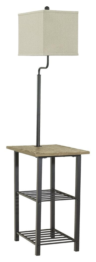 Ashley Furniture Signature Design - Shianne Metal Tray Lamp - Floor Lamp End Table - Black