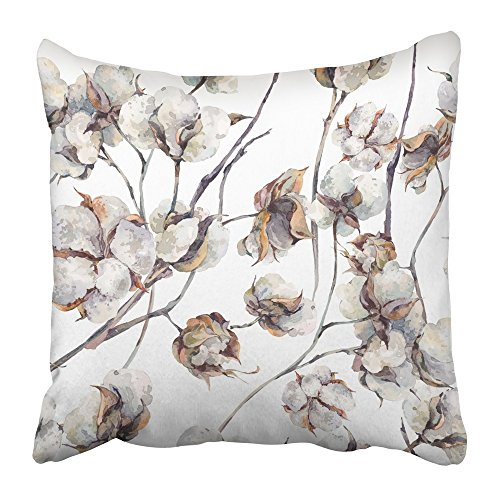 Emvency Throw Pillow Cover Square 18x18 Inches White Painting Watercolor Vintage with Twigs and Cotton Flowers Botanical Summer Plant Agriculture Polyester Decor Hidden Zipper Print On Pillowcases
