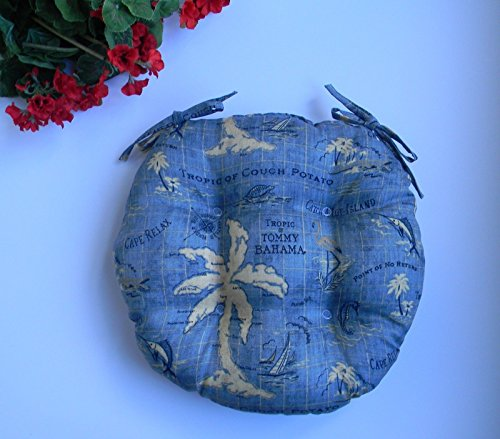 Resort Spa Home Decor Indoor/Outdoor Round Tufted Bistro Cushion with Ties - Tommy Bahama Island Song Blue Nautical/Tropical Fabric - Choose Size (20