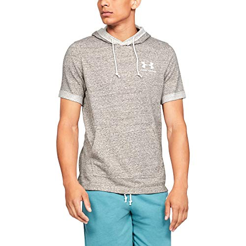 Under Armour Men's sportstyle Terry short sleeve Hoodie, Onyx White//Onyx White, Large