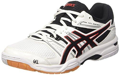 Asics Gel-Rocket 7, Zapatillas de Voleibol para Hombre Blanco (White/black/vermilion)
