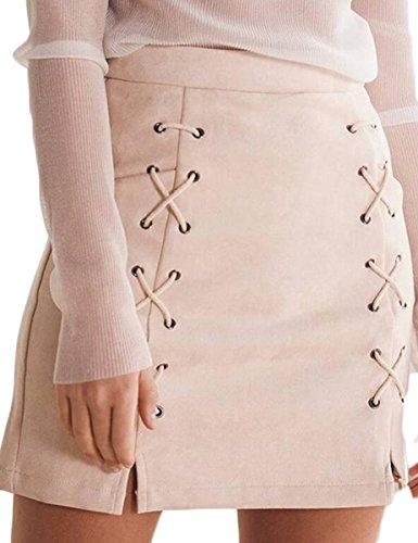 Skirt Beige Womens (Prograce Women's Criss-Cross Empire Waist Bodycon Faux Suede Mini Skirt Beige S)