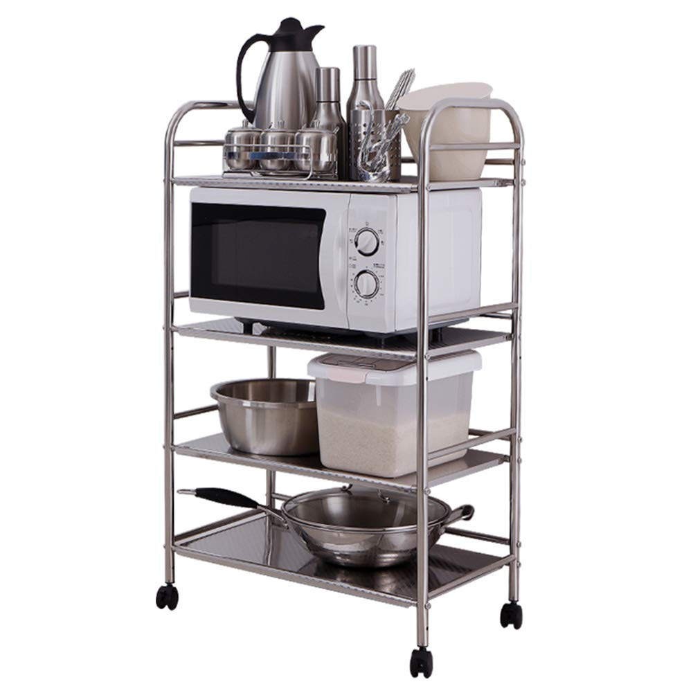 Shelf Storage Racks Cupboard Organizers Kitchen Landing Stainless Steel Four Floors Microwave Oven Rack It Can Move Wheeled Storage Rack 6034100.5cm ZHAOYONGLI