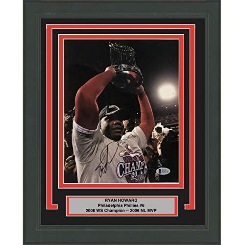 (Framed Autographed/Signed Ryan Howard Philadelphia Phillies 2008 World Series 8x10 Baseball Photo Beckett BAS COA )