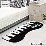 Ustide Black Piano Keyboard Music Rug Fashion Black and White Kids Play Rug Boys Bedroom Mats Home Decoration Washable Floor Rug Living Room Floor Runner Rugs 2x3