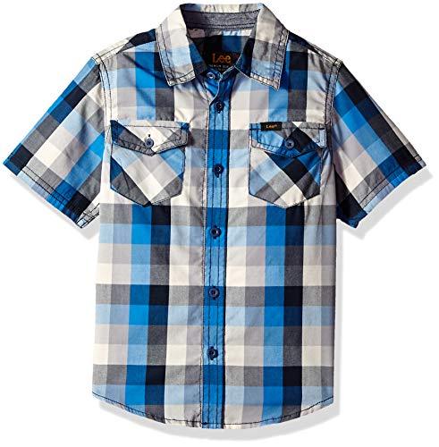 LEE Boys' Little Short Sleeve Button Up Shirt, Blue Night, L -