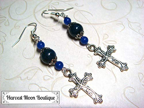 Blue Jade & Blue Goldstone Beaded Cross Dangle Earrings