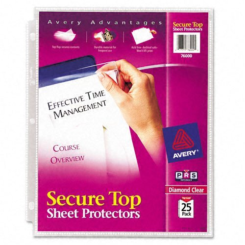 (Avery : Secure Top Sheet Protectors, Heavy Gauge, Letter, Diamond Clear, 25 per Pack -:- Sold as 2 Packs of - 25 - / - Total of 50 Each)
