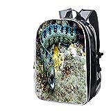 Fashion Custom Laptop Backpack-Leisure Travel Backpack Snowflake EEL Curves Towards Camera Underwater Water