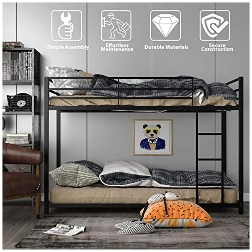 Bedroom Giantex Metal Bunk Bed Twin Over Twin, Classic Bunk Bed Frame with Safety Guard Rails & Side Ladder, Heavy Duty Space… bunk beds