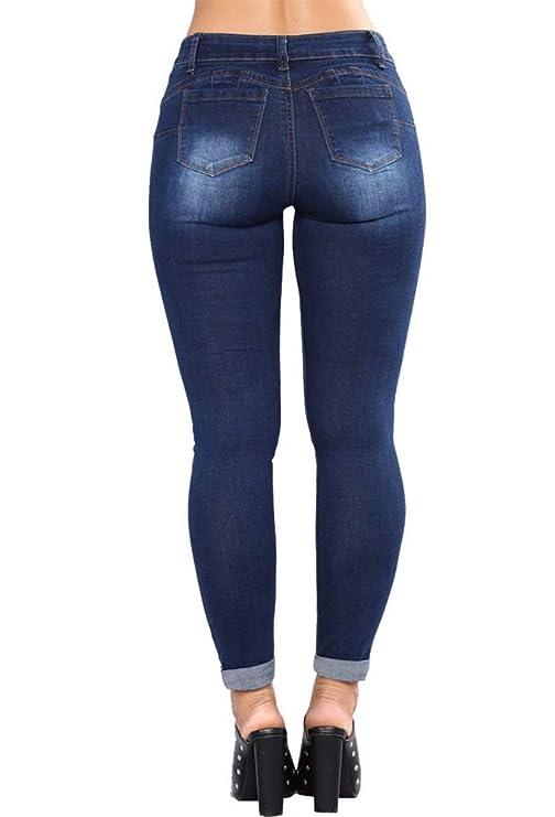 Amazon.com: Pantalones vaqueros de jean para mujer, de talle ...