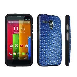 DuroCase ? Motorola Moto G 2013 1st Gen. Hard Case Black - (Blue Diamond Plate Pattern)