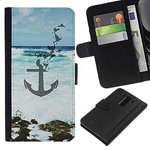 All Phone Most Case / Oferta Especial Cáscara Funda de cuero Monedero Cubierta de proteccion Caso / Wallet Case for LG G3 // Blue Sea Waves Art Beach