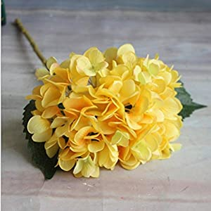 YJBear Silk Artificial Yellow Hydrangeas Flower for Office Decor Home Decoration Washable DIY Flowers for Wedding Bouquets Party(1 Flower) 74