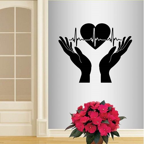 Wall Vinyl Decal Home Decor Art Sticker Hands Open Palms Heart Beats Cardiogram Friendship Medicine Health Care Logo Hospital Clinic Room Removable Stylish Mural Unique Design